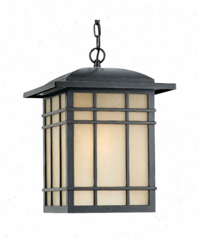 Quoizel Hc1913ib Hillcrest 1 Light Exterior Hanging Lantern In Imperial Bronze With Linen Glass Panels Glass