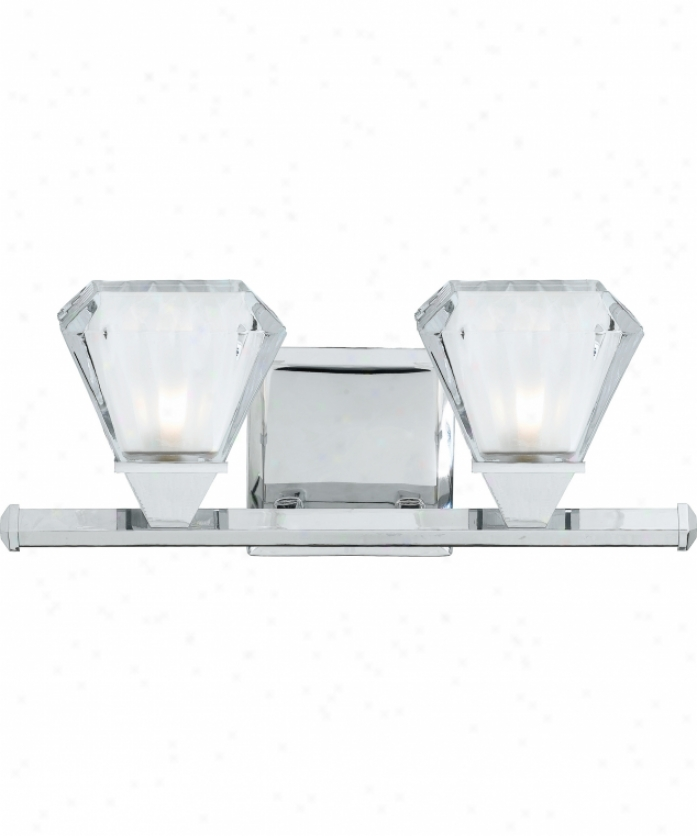 Quoizel Jn8602c Jaden 2 Light Bath Vanity Lihgt In Burnished Chrome With Clear Glass With Blasted Inside Glass
