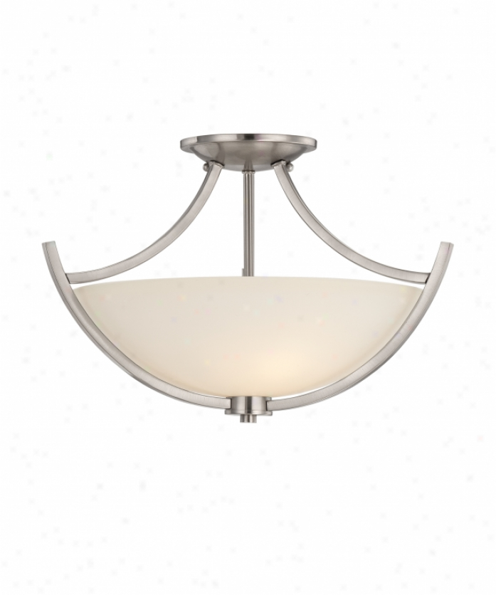 Quoizel Tcr1718bn Tucker 3 Light Semi Flush Mount In Brushed Nickel With Etched Glass Painted White Inside Glass