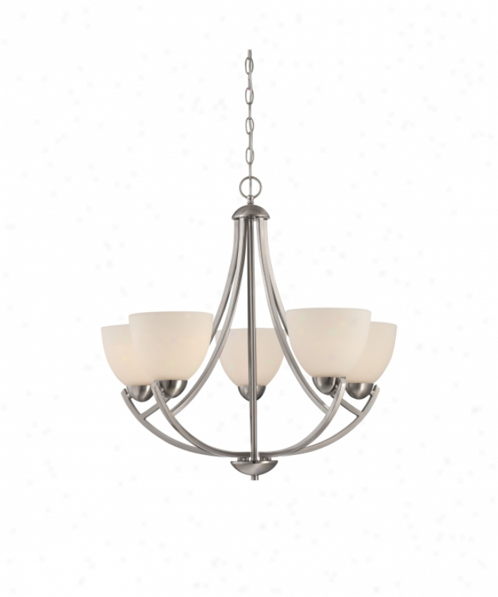 Quoizel Tcr5005bn Tucker 5 Light Single Tier Chandelier In Brushed Nickell With Etched Glass Painted Pale Inside Glass