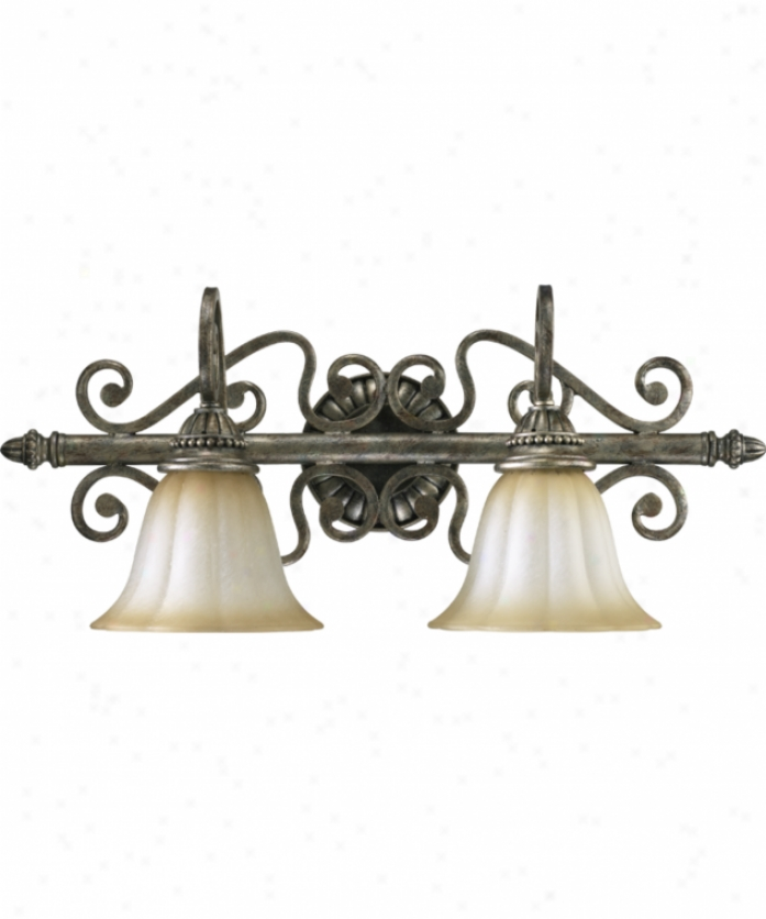 Quorum International 5126-2-58 Somerset 2 Light Bath Vanity Light In Mystic Silver With Antique Amber Scavo Glass