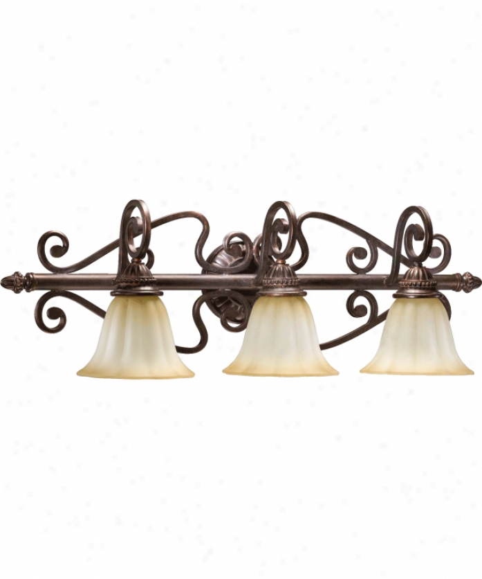 Quorum International 5126-3-44 Summerset 3 Light Bath Vanity Light In Toasted Sienna With Antique Amber Scavo Glass
