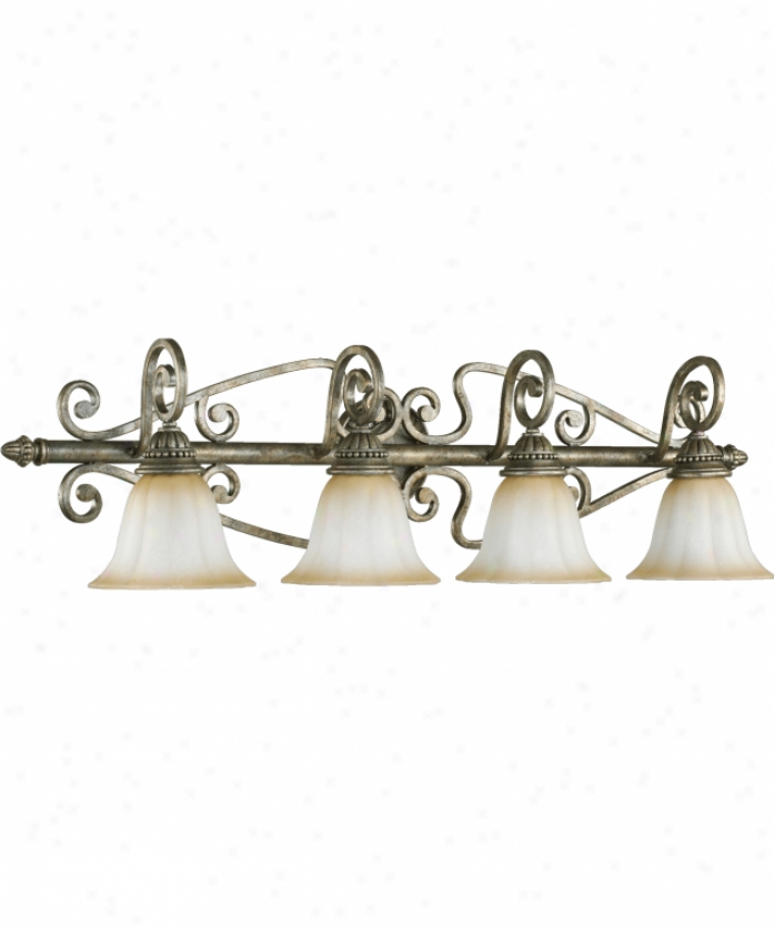 Quorum International 5126-4-58 Summerset 4 Light Bath Vznity Light In Mystic Silver With Antique Amber Scavo Glass