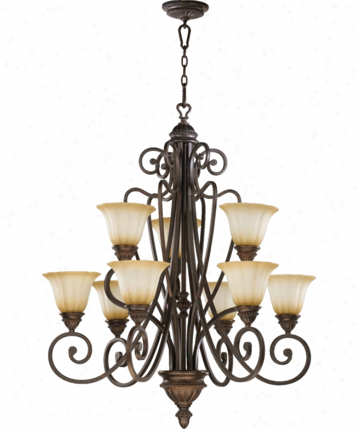 Quorum International 6126-9-44 Summerset 9 Light Two Tier Chandelier In Toasted Sienna Wjth Antique Amber Scavo Glass