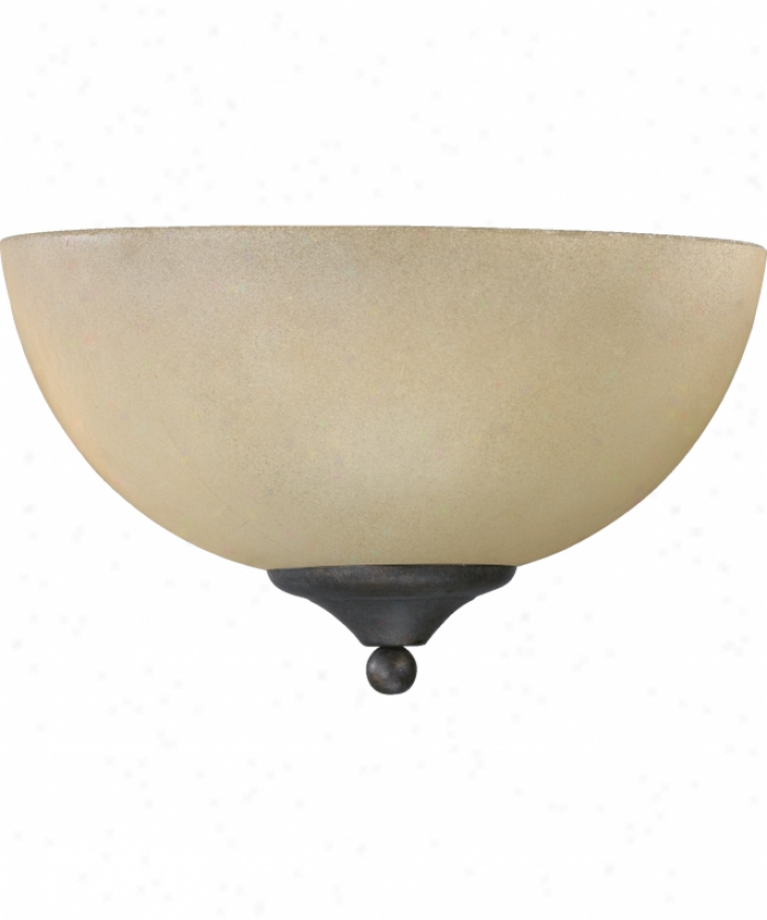 Quorum International 625-11-44 Hemisphere 1 Illuminate Wall Sconce In Toasted Sienna With Antique Amber Scavo Glass