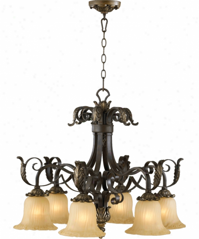 Quorum International 6391-6-44 Belmira 6 Light Single Row Chandelier In Toasted Sienna With Golden Fawn With Amber Scavo Gpass