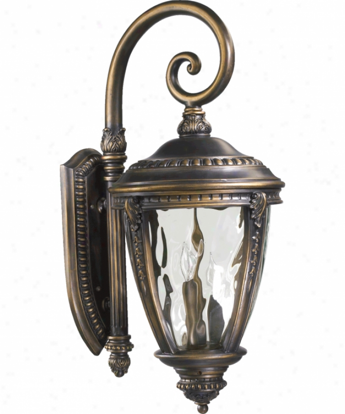 Quorum International 7321-3-39 Pemberton 3 Light Outdoor Wall Light In Bronze Patina With Hammered Clear Glass