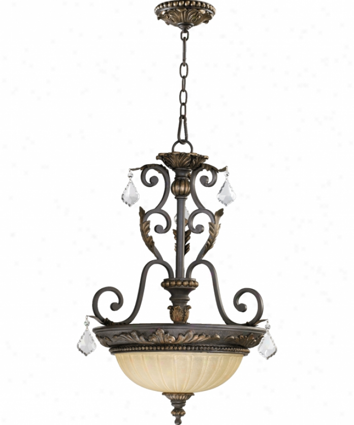 Quorum International 8057-3-44 Rio Salado 3 Light Ceiling Pendant In Toasted Sienna With Mystic Silver By the side of Amber Linen Glass