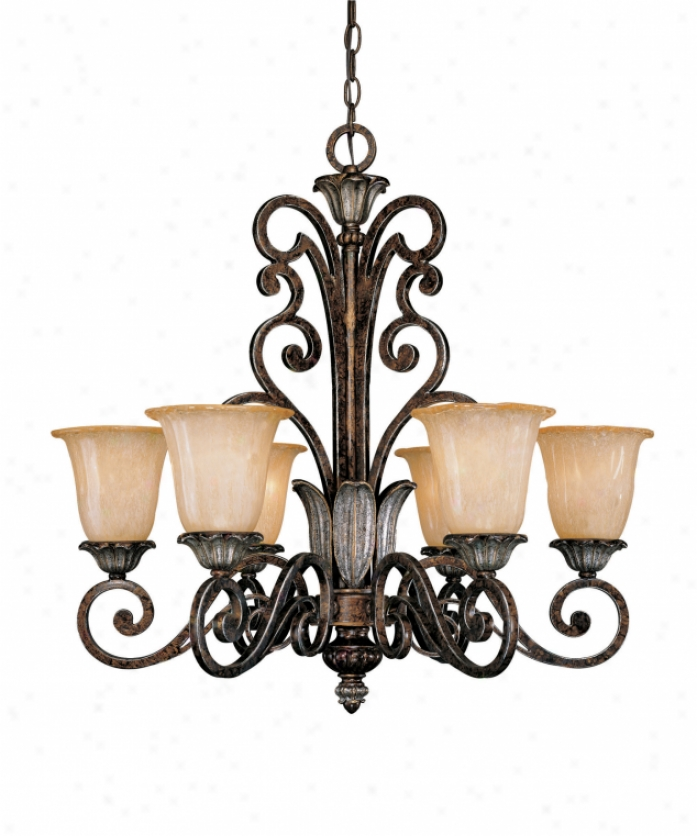 Savoy House 1-2560-6-8 Lotus 6 Window Single Tier Chandelier In New Tortoise Shell Wsilver With Pale Cream Textured Glass Glass