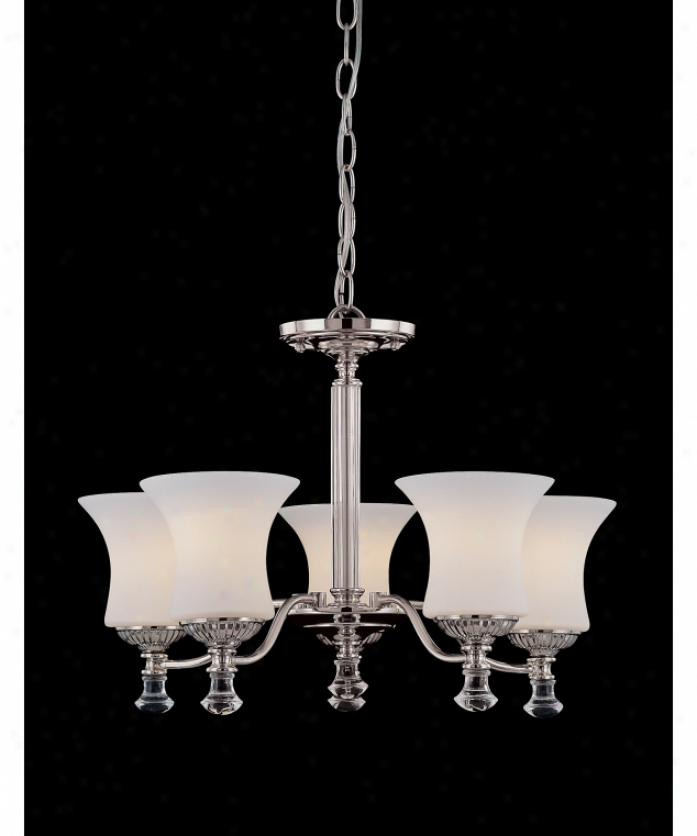 Savoy House 1-8001-5-109 Miller 5 Light Single Tier Chandelier In Burnished Nickel With White Frost Glassclear Crystal