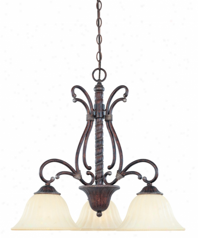 Savoy House -18606-3-59 Kensley 3 Light Choose Tier Chandelier In Distressed Bronze With Soft Cream Marble Glass Glass
