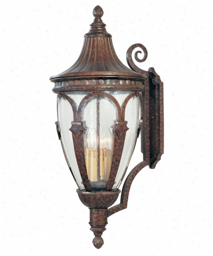 Savoy House 5-116-8 Fredericksburg 4 Light Outdoor Wall Light In New Tortoise Shell Wsilver With Apparent Sown Glass Glass