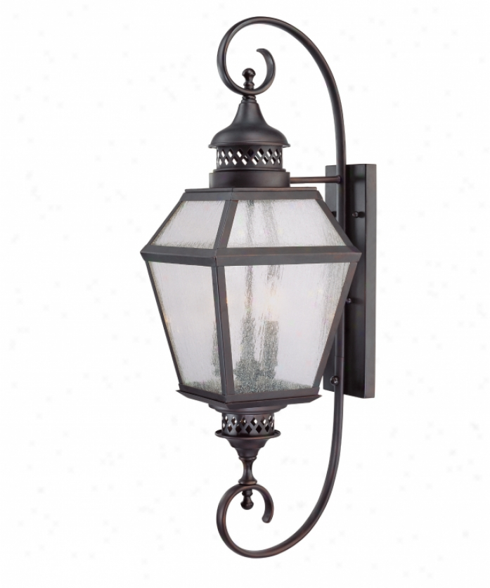 Savoy House 5-774-13 Chimnea 3 Light Outdoor Wall Light In English Bronze With Pale Cream Seeded Glass
