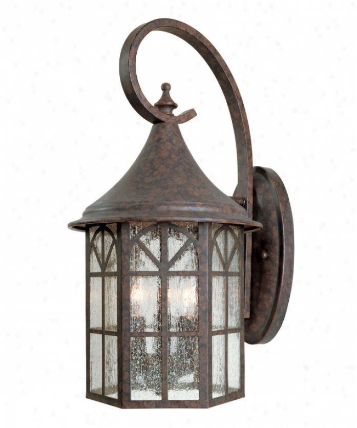 Savoy House 5-8252-56 Manchester 3 Light Outdoor Wall Light In New Tortoise Shell With Pale Cream Textured Glass