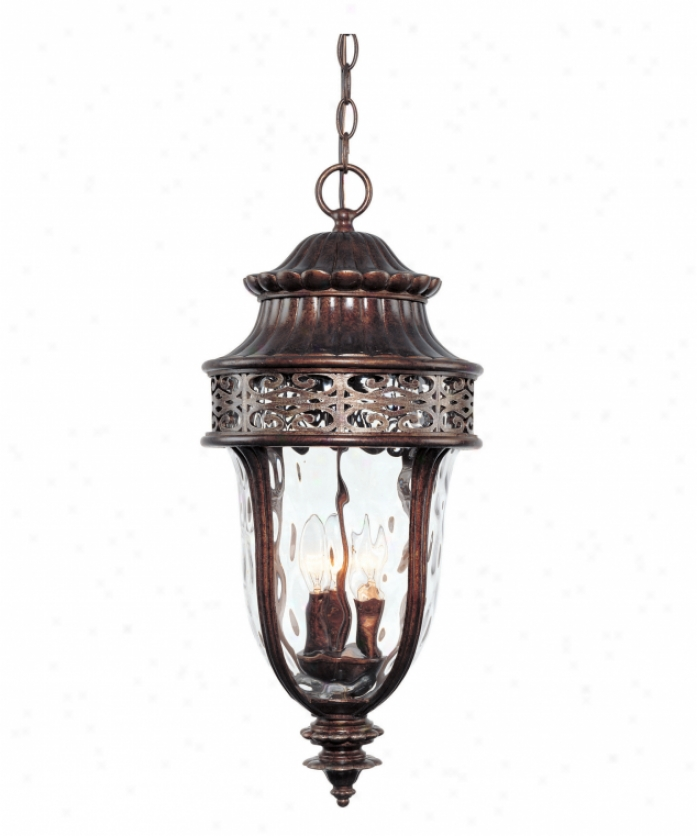 Savoy Housd 5-8503-8 Kingsley 3 Light Outdoor Hanging Lantern In New Tortoise Shdll Wsilver With Clear Hammered Glass