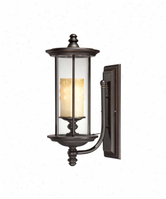 Savoy House 5-8711-213 Chestatee 1 Light Outdoor Wal lLight In English Bronze W-gold With Clear With Cream Taper Glass