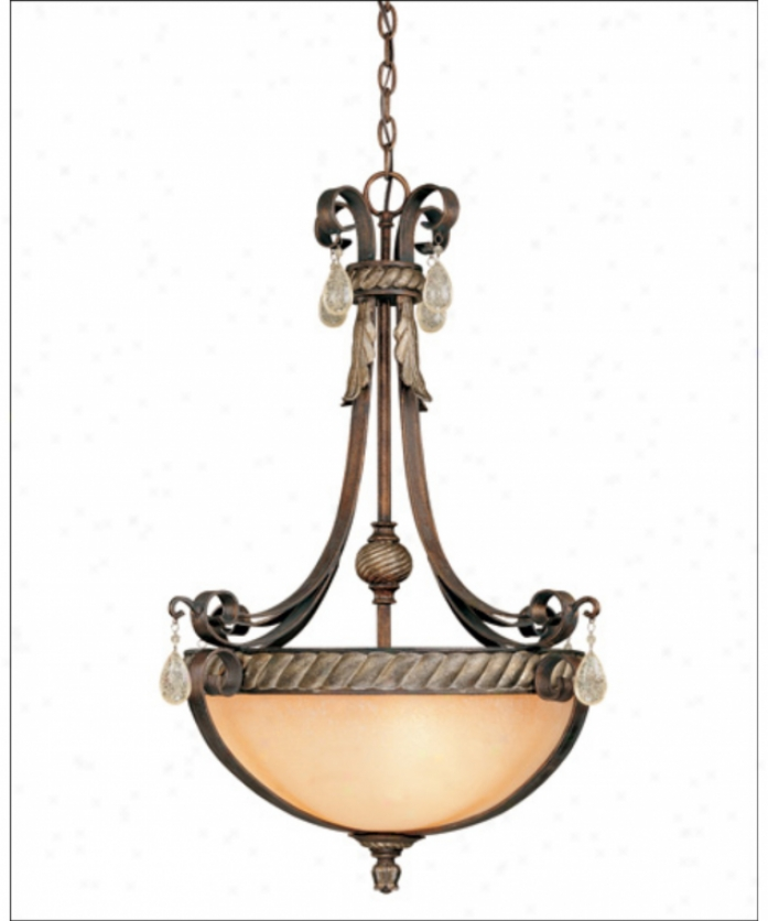 Savoy House 7-974-3-234 Marion 3 Light Ceiling Pendant In Parisian Bronze With Cream Textured Glass Glassdistressed Crystals Crystal