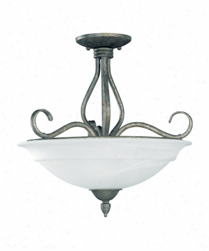 Savoy House Kp-111-3-27 Swn Marcos 3 Light Semi Flush Mount In Texas Bat Silver With Cream Faux Alabaster Glass Glass