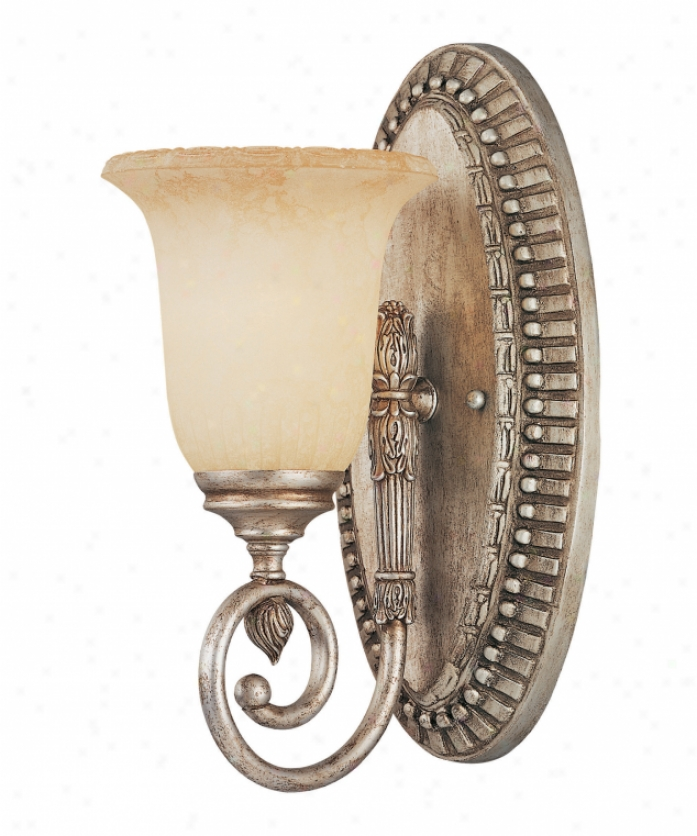 Savoy House Kp-8-6055-1-47 Laurel & Berry 1 Light Bath Vanity Unencumbered In Distressed Silver With Etched White Scavo Glass
