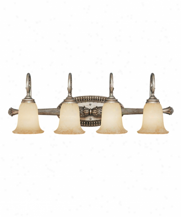 Savoy House Kp-8-6055-4-47 Laurel & Berry 4 Light Bath Vanity Light In Distressed Silver With Etvhed White Scavo Glass