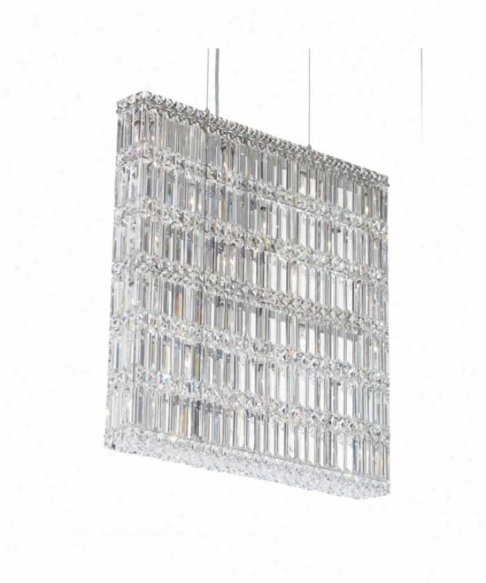 Schonbek 2294a Quantum 22 Light Ceiling Pendant In Poloshed Chrome With Swarovski Spectra Clear Crystal