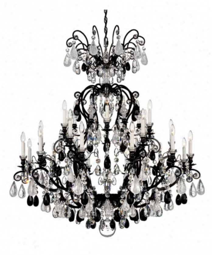 Scbonbek 3574-76aq Renaissance Rock Crystal 24 Light Large Foyer Chandelier In Heirloom Bronze With Aqua & Clear Crystal