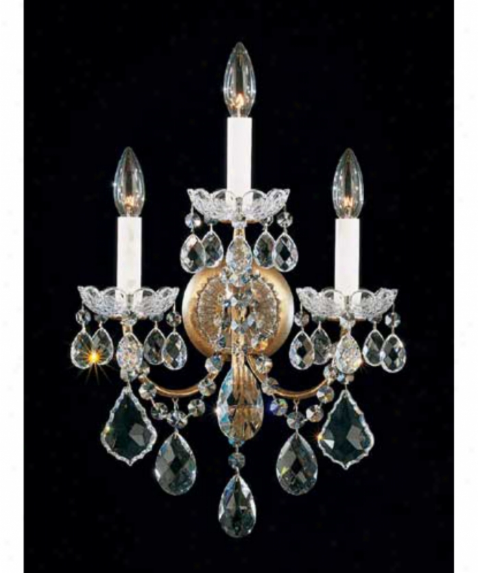 Schonbek 3652-48gs New Orleans 3 Light Wall Sconce In Antique Silver Upon Swarovski Strass Golden Shadow Crystal