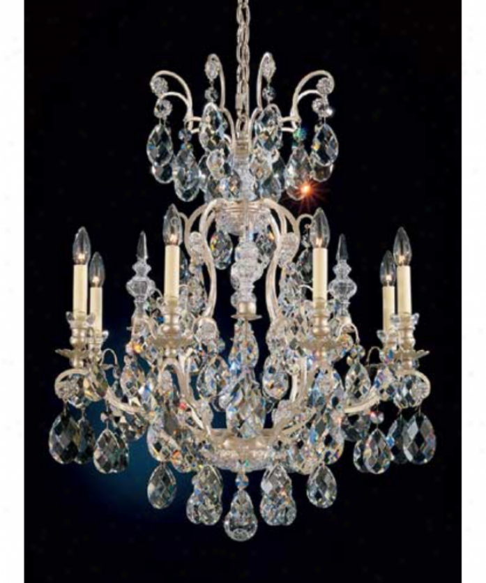 Schonbek 3771-34tk Renaissance 8 Light Single Row Chandelier In French Provincial With Swarovski Strass Delightful Teak Crystal