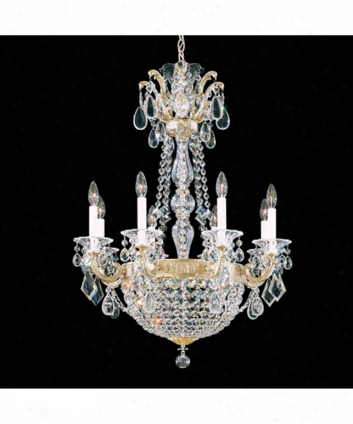 Schonbek 5078-74tk La Scala Empire 10 Light Single Tier Chandelier In Parchment Bronze With Swarovsi Strass Goldem Teak Crystal