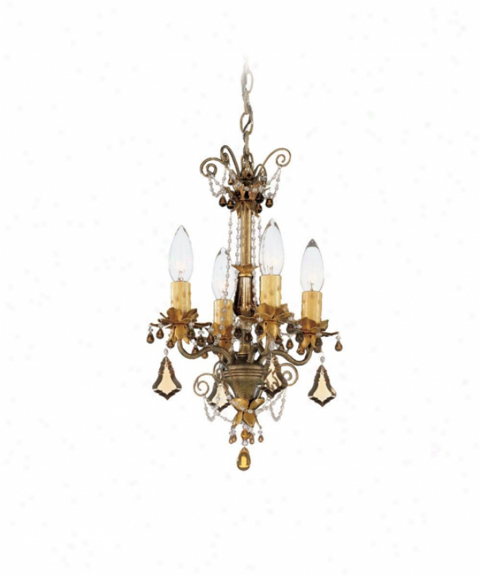 Schonbek 5324-48 Florentine 4 Light Single Tier Chandelier In Old Silver With Topaz & Black Diamond Crystal