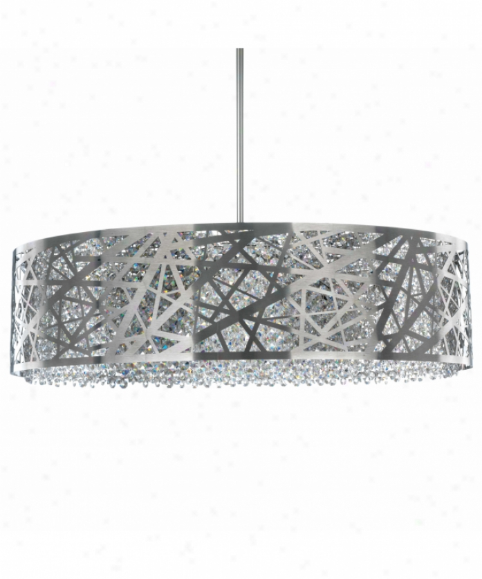 Schonbek Sh0805n-16whi Shadow Dance 8 Light Ceiling Pebdant In Brushed Stainless Steel Upon Whkte Opal Strass Crystal