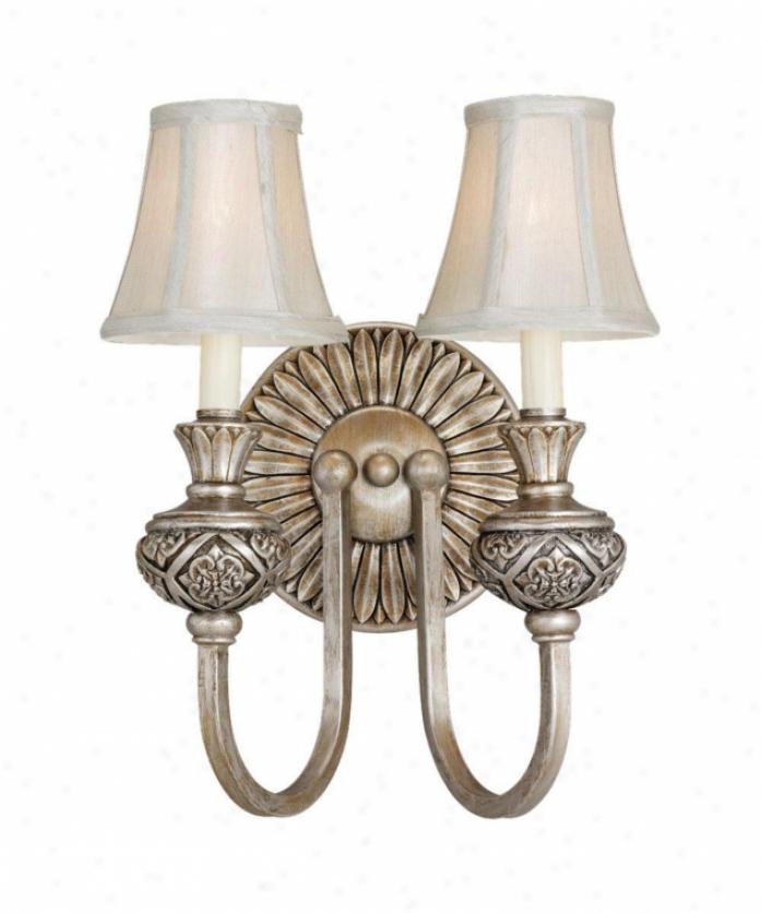 Sea Gull Lighting 42251-824 Highlandq 2 Gossamery Wall Sconce In Palladium With Silver Silk Shantungfabric Glass