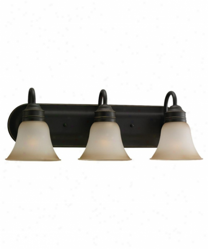 Sea Gull Lighting 44852-782 Gladstone 3 Liight Bath Vanity Light In Heirloom Bronze By the side of Smokey Amber Glass