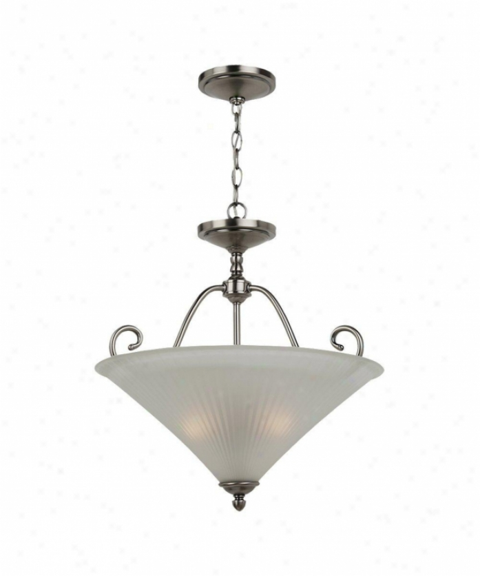 Sea Gull Lighting 65936-965 Joliet 3 Gossamery Ceiling Pendant In Antiqus Brushed Nickel With Faceted Satin Etched Glass