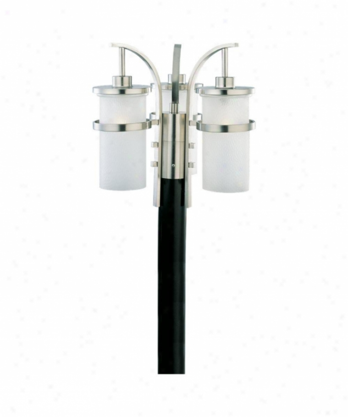 Sea Gull Lighting 82115-962 Eternity 3 Light Outdoor Post Lamp In Brushed Nickel With Clear Highlighted Satin Etched Glass