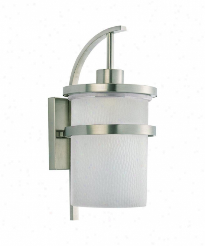 Sea Gull Lighting 88119-962 Eternity 1 Light Outdoor Wall Light In Brushed Nickel With Clear Highlighted Satin Etched Glass