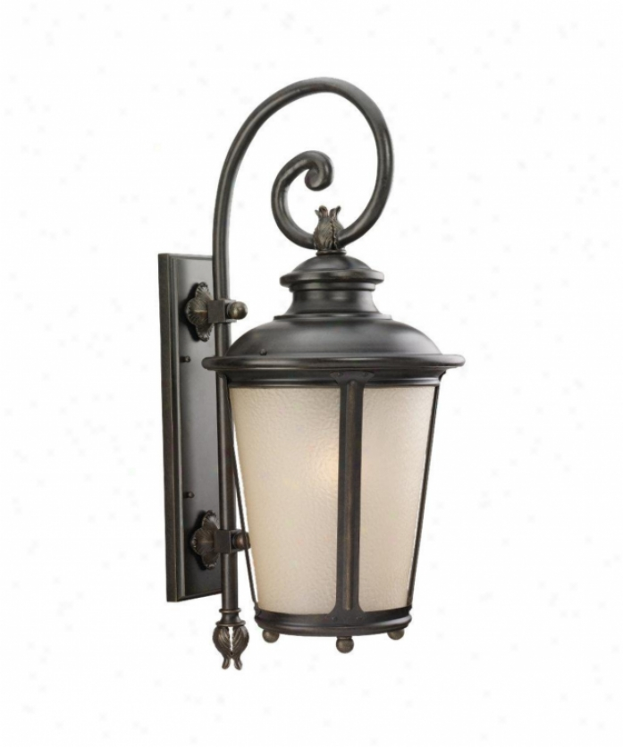 Sea Gull Lighting 88243-780 Cape May 1 Light Outdoor Wall Light In Burled Iron With Etched Hammered With Illustration Amber Glass