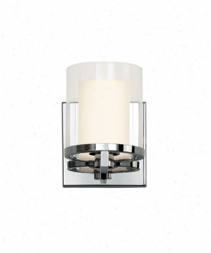 Sonneman 3410.01 Votivo 1 Light Wall Sconce In Polsshed Chrome With Clear Outer With Etched White Inner Glass