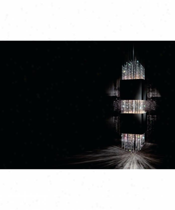Swarovski Cpru1400 Casink Royale 16 Light Ceiling Pendant In Powder Coated Gloss Black With Clear-golden Teak-jet Crystal