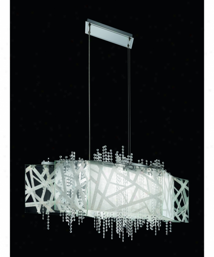 Swarovski Sde135n-ss1s Deconstruct 14 Light Island Light In Stainless Steel With Swarovski Elements Clear Crystal
