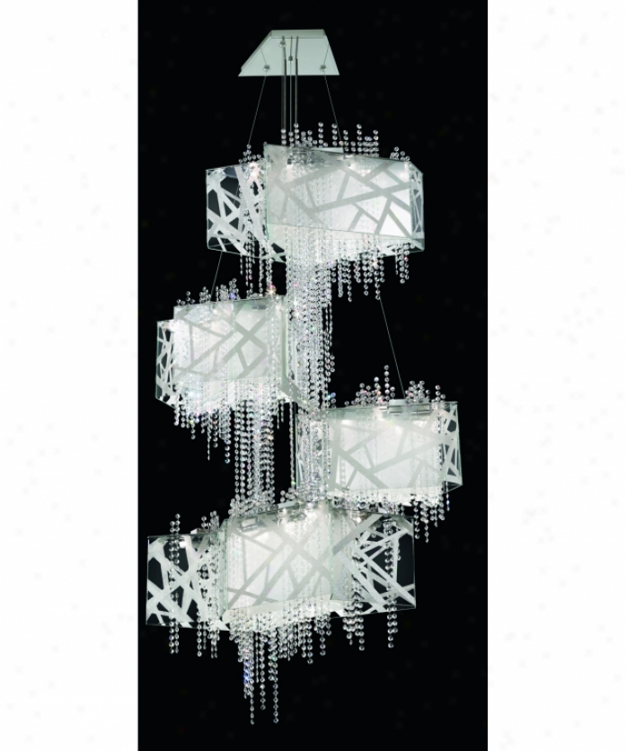 Swarovski Sde155n-ss1s Deconstruct 45 Light Large Foyer Chandelier In Sainless Steel Through  Sarovski Elements Clear Crystal