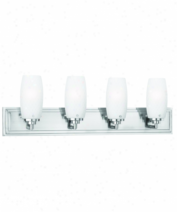 Thomas Lighting M160478 Vado 4 Light Bath Vanity Light In Brushed Nickel With White Triple Cased Blown Bubble Glass