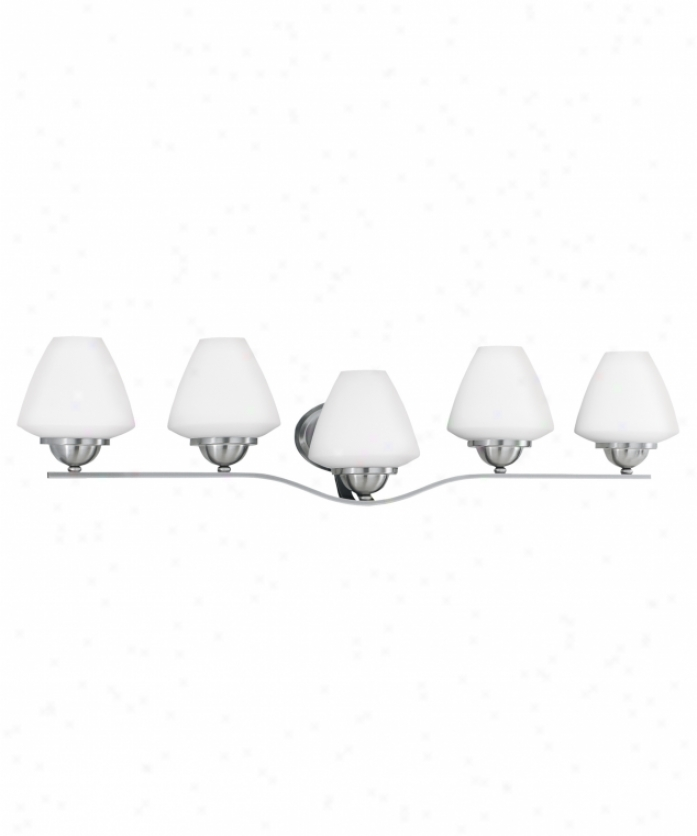 Thomas Lighting M1852-78 Cosmopolitan 5 Light Bath Vanity Light In Brushed Nickel With Satin Cased Opal Glass Glass