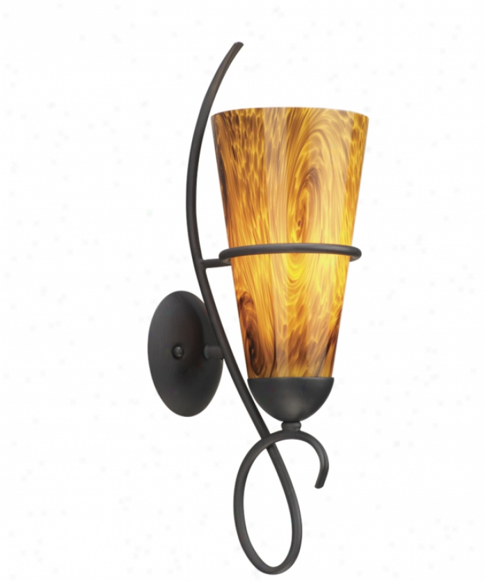 Thomas Lighting M198163 Tango 1 Light Barh Vanity Light In Painted Bronze With Mouth-blown Abrazo Art Glass Glass