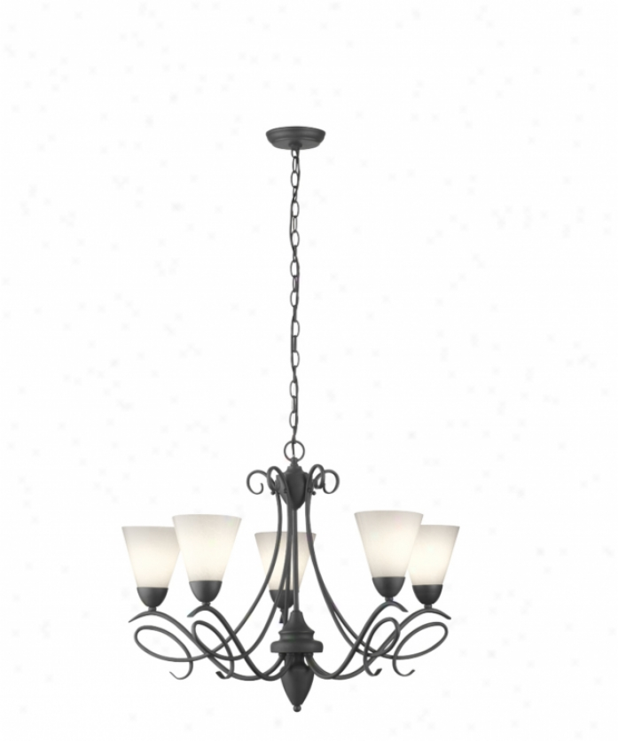 Thomas Lighting M201763 Tango 5 Light Single Tier Chandelier In Painted Bronze With Mouth-blown Clear Faceted Glass With Burnished Goass Drops Glass