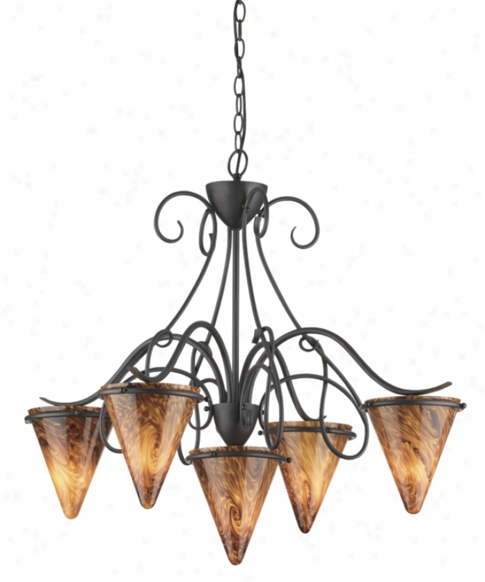 Thomas Lighting M202563 Tango 5 Light Single Tier Chandelier In Painted Bronze In the opinion of Mouth-blown Abrazo Art Glass Glass
