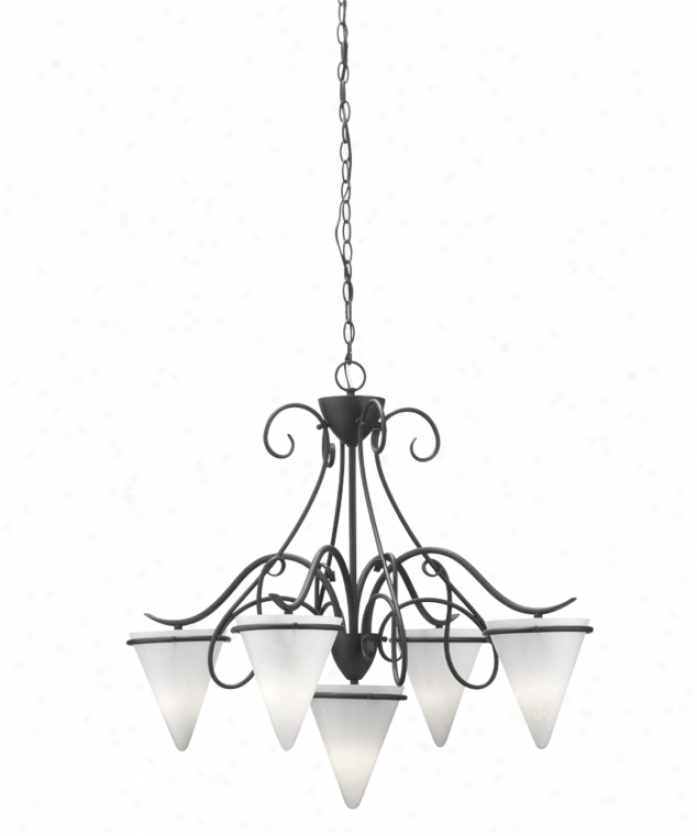 Thomas Lighting M206563 Tango 5 Light Single Row Chandelier In Painted Bronze With Mouth-blown Cased Cracked Ice Glass Glass