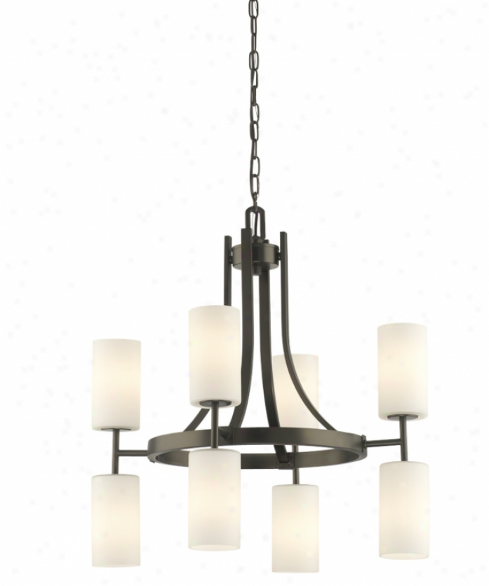 Thomas Lighring M2318-96 Ditto 8 Light Two Tier Chandelier In Gunmetal With Mouth Blown White Cased Etched Glass