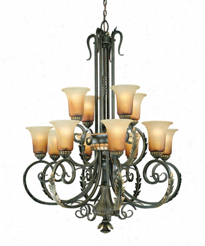Thomas Lighting M2362-40 Allium 12 Light Two Tier Chandelier In Burnished Umber With Aged Burma Glass Glass