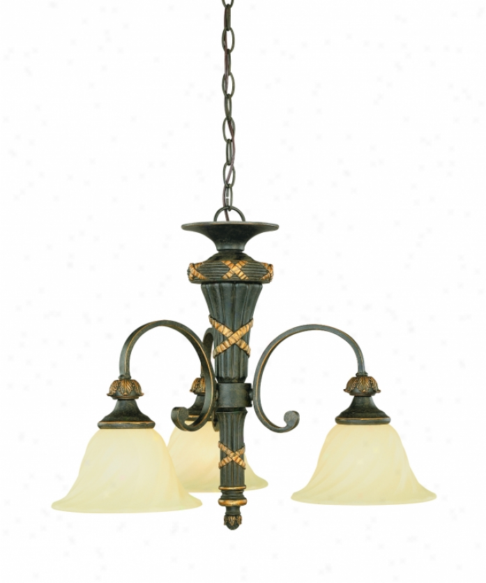 Thomas Lighting M239340 Reed & Ribbon 3 Light Mini Chandelier In Burnished Umber With Twisted Painted Glass Glass
